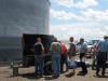 Farmers line up for a steak lunch at Cooksey Farms.