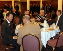CAWG board member alternate John Sauter (back to camera) visits with State Senator Greg Brophy (R-Dist. 1), while State Senator Pat Steadman (D-Dist. 31) and State Senator Mary Hodge (D-Dist. 25) talk with CAWG board member Chris Tallman at the CAWG Legislative Luncheon February 12.